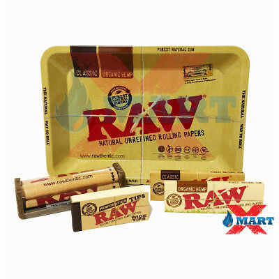 RAW Classic Organic 1 1/4 Rolling Paper Tray Bundle 5 Total Items - Starter Kit