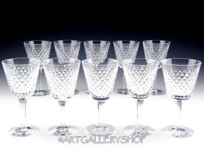 """Waterford Ireland Cut Crystal ALANA CLARET 5-7/8"""" WINE GLASSES GOBLETS Set of 10"""