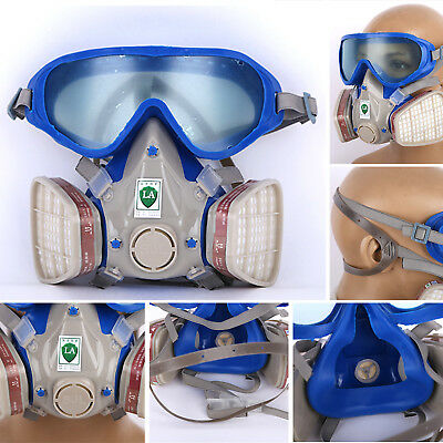 Full Face Respirator Gas Mask Silicone & Goggles Paint Chemical Dustproof Fire