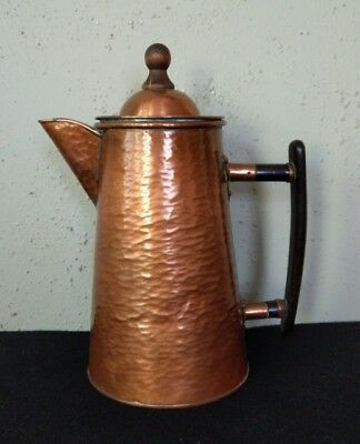 Antique Arts & Crafts Mission Hammered Copper Coffee Pot w/ Brass Solder Joints