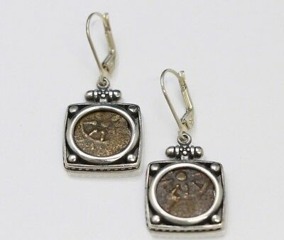 Sterling Silver Earrings, Genuine Ancient Coins, Judaea (Widows Mite). Cert -051