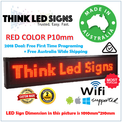 Outdoor P10 LED SIGNS Red color programmable Extra Bright 100 x 21cm BRAND NEW