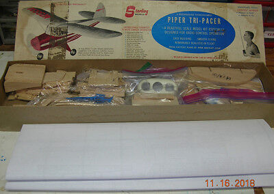 "Vintage 1950s Sterling Tri-Pacer 59"" Wingspan RC Model SHORT KIT for .15 to .35"