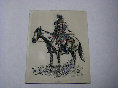 Frederick Remington 1901 Hand Painted Signed Etching On Milk Glass 8x10""