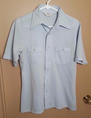 Vintage 1970's Light Blue Short Sleeve Button-Down Shirt by Career Club Sz. M