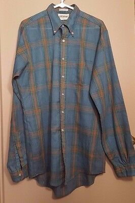 Vintage 1960's Men's Long Sleeve Green Plaid Shirt by Lewis Bryant Large 16.5x38