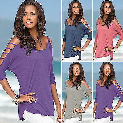 Summer Womens Off Shoulder Short Sleeve Casual Tops T-Shirt Blouse Tee Plus Size