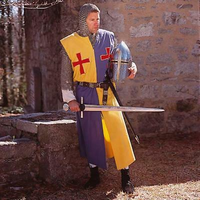 MEDIEVAL TEMPLAR KNIGHT Tunic Yellow&Blue Surcoat Crusader Sleeveless