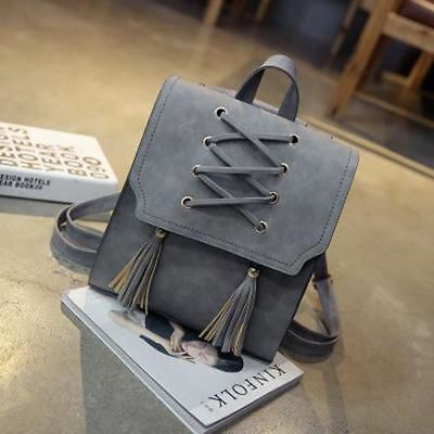 Pu Leather Tassel Decorated Solid Color Backpack For Teenager Girl Xx19