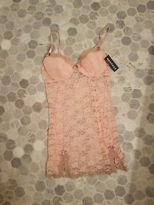 932aa975e93 NWT RAMPAGE Sexy Peachy Pink All Lace Sheer Nylon Stretch Babydoll Nightie M