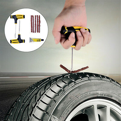 Car Vacuum Tire Patch Tool Tyre Puncture Repair Kit Set Plug Emergency Universal