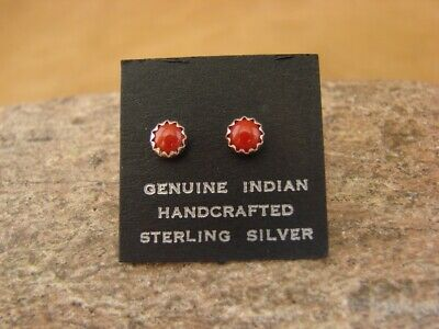 Native American Sterling Silver Coral Dot Post Baby Earrings! Navajo Indian