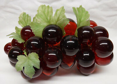 Vintage Retro 1960s Acrylic Lucite Vibrant Red Grapes Cluster on Driftwood 12.5""