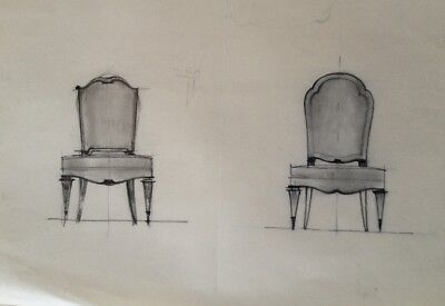 Dessin Original Art Deco  Fauteuil De Decorateur De Jacques Adnet ?  (23)
