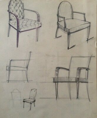 Dessin Original Art Deco  Fauteuil De Decorateur De Jacques Adnet ?  (31)