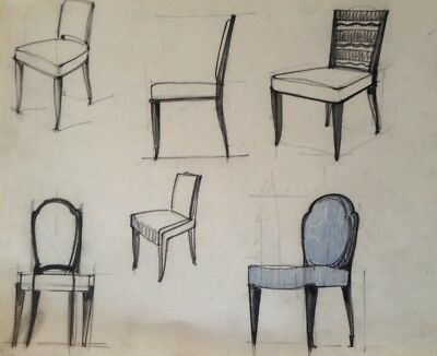 Dessin Original Art Deco  Fauteuil De Decorateur De Jacques Adnet ?  (28)