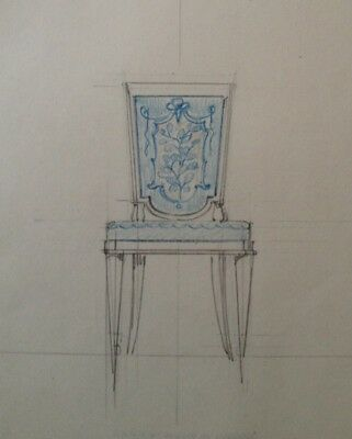 Dessin Original Art Deco  Fauteuil De Decorateur De Jacques Adnet ?  (22)