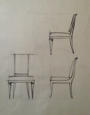 Dessin Original Art Deco  Fauteuil De Decorateur De Jacques Adnet ?  (33)