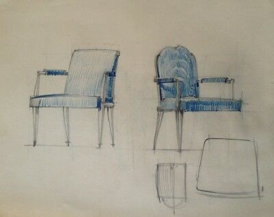 Dessin Original Art Deco  Fauteuil De Decorateur De Jacques Adnet ?  (30)