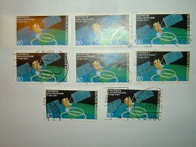 1986 WEST GERMANY GERMAN & FRENCH TV SATELLITES STAMPS x 8 MNH/VFU (sg2133)