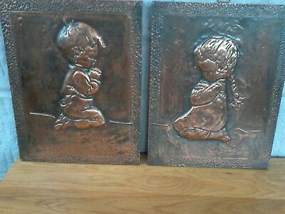 Copper Wall Plaques, Matching Pair. Boy And Girl Praying. Height 32Cm.