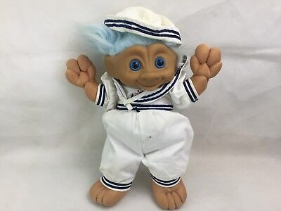 Troll Doll - Large - Sailor - Blue Hair - Vintage - Plush - Toy -