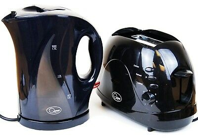 New Electric Cordless Jug Kettle And 2 Slice Toaster Kitchen Set Gloss Black