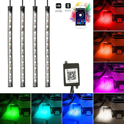 LED Car Interior Neon Smart Phone App Control Colorful RGB Floor Light Strip .