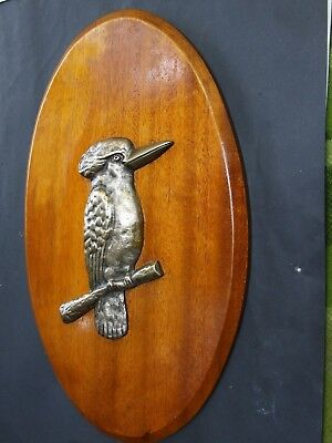 Antique  Australian Bronze Kookaburra  Bird on Maple  Wall Plaque c1920's
