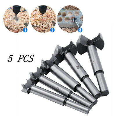 5Pcs Wood Drill Bit Set Hole Saw Cutter Wood Tools With Round Shank Tools Alloy