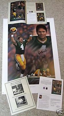 Green Bay Packers Brett Favre 4 Signed Super Bowl 31 Sb Xxxi Heart Of Gold Litho