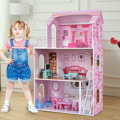 Large Kids Wooden Dolls House Pink 3 Floors Plat Set Birthday Gift Set