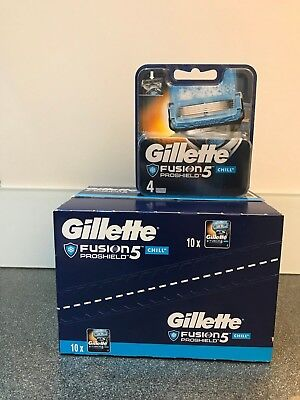 GILLETTE FUSION 5 PROSHIELD CHILL BLADES 10 x 4 PACKS = 40 BLADES *100% GENUINE*