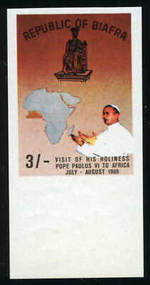 BIAFRA Nigeria 1969 MNH BROWN-RED Variety ***IMPERFORATE PROOF*** POPE PAUL VI