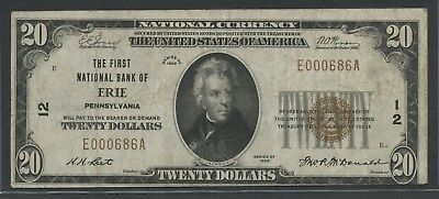 Fr1802-1 Ch #12 $20 1929 National Bank Of Erie, Pa Vf-Xf Bu5862
