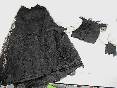 Antique, Late 1800's Victorian Two Piece Outfit, Black W/grey Sleeves