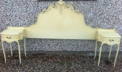 vintage louis style double headboard and side cabinets