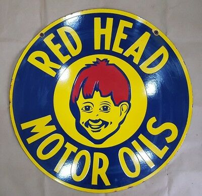 RED HEAD MOTOR OILS 2 SIDED 30 INCHES ROUND Porcelain Enamel Sign