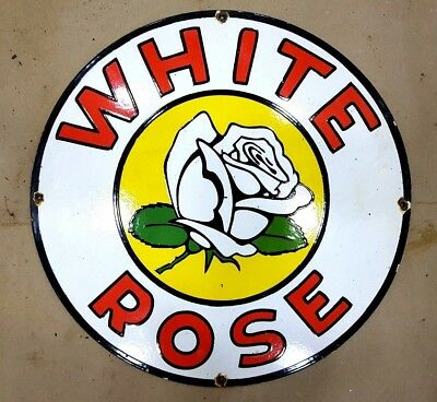 WHITE ROSE 18 INCHES ROUND Porcelain Enamel Sign