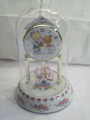 "Precious Moments Anniversary Clock Porcelain with Glass Dome ""Love One Another"""