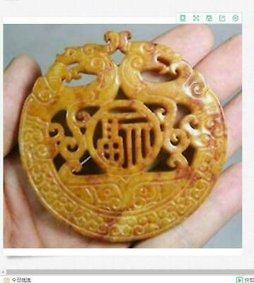 Chinese Old Handwork Carve Green Jade Dragon Pendant!!