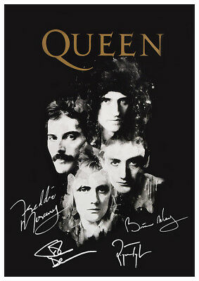 Queen - Freddie, Brian May, Roger & John Autographed Signed Laminated Poster