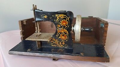 Vintage Miniature Sewing Machine (Poss.Casige of Germany) Mounted in a Box