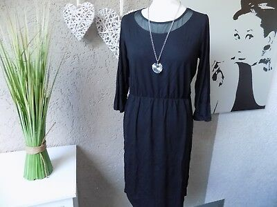 Sexy Shirtkleid Dress in Gr. 38 44 46 NEU schwarz Kleid 3/4 Arm (41d)