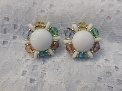 Made In Western Germany Beautiful Vintage Clip-On Earrings Pastel & White Beads