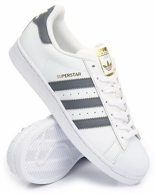 New Adidas Men's Superstar Shoes White Onix Gold Shell Toe Size 9.5