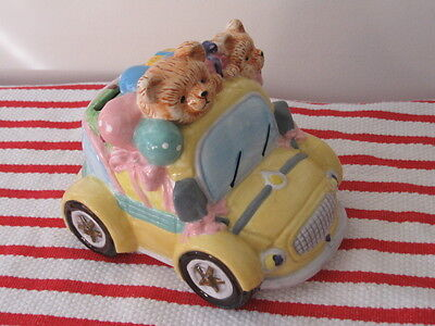 "Ceramic Car ""Piggy"" Bank Yellow Convertible Birthday Party Bears Balloons Gifts"