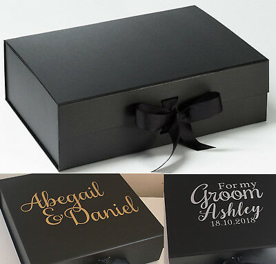 Personalised Large A4 Deep Black Gift Box Christmas Bride Bridesmaid Groom Baby