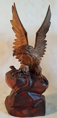 Antique Carved Eagle Attacking A Snake