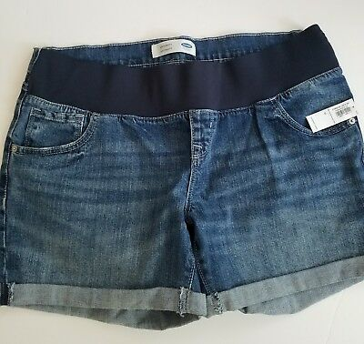 New Old Navy Maternity Low Panel Blue Distressed Denim Jean Shorts Sz 12
